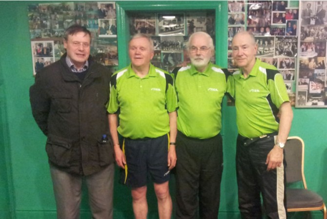 Division 1 Winners, Leixlip 1: Gerry Butler, Jim Storey, Tommy Caffrey & Dara Melinn. (Missing from photo: Dylan Slattery)